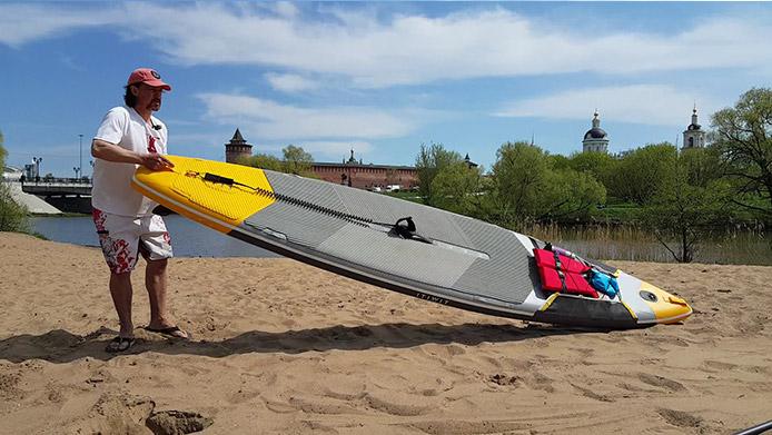 как расположить сап-борд на берегу